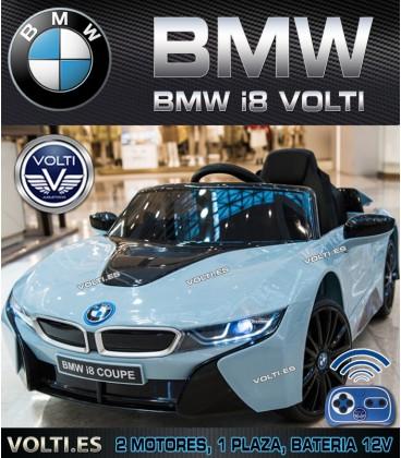 BMW i8 AZUL CLARO PINTADO VOLTI PARA NIÑOS 12V 2 RUEDAS MOTRICES