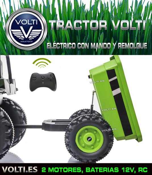 TRACTOR ELECTRICO CON MANDO Y REMOLQUE VOLTI